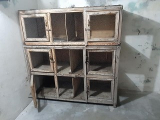 One big wood cage with six boxes